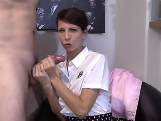 brunette handjob german